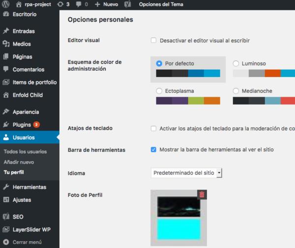 barra herramienta wordpress