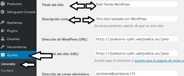 descripción y titulo wordpress